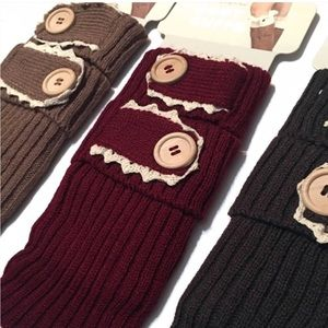 Accessories - Rib Knit Boot Cuffs w/ Lace & Buttons: 2 Colors